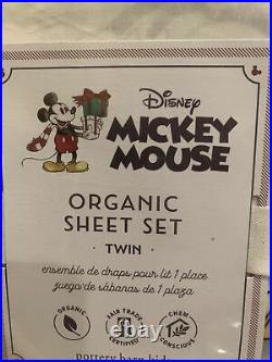 POTTERY BARN KIDS Disney Mickey Mouse Organic Cotton TWIN 3 Piece Sheet Set NEW