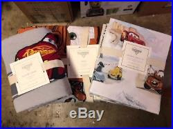 POTTERY BARN KIDS Disney Pixar CARS Twin Quilt Sham & Sheets 5 pc Set NEW