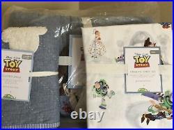 POTTERY BARN KIDS Disney Pixar TOY STORY TWIN Quilt Sham & Sheets 5 pc Set NEW