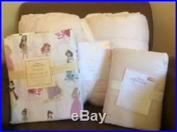 POTTERY BARN KIDS Disney Princess TWIN Quilt Sham & Princess Sheets 5 pc Set NEW