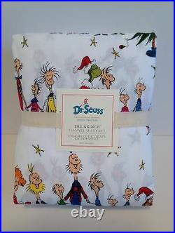 POTTERY BARN KIDS Dr. Seuss The Grinch TWIN Flannel Sheet Set New withTags