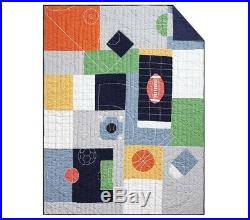 POTTERY BARN KIDS Field Day Twin Quilt & Sham Tyler Sports Sheets 5 pc Set NEW