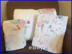 POTTERY BARN KIDS Gigi Butterfly TWIN Quilt Sham & Sheets 5 pc Set NEW