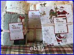 POTTERY BARN KIDS Holiday Heritage Santa TWIN Quilt Sham & Sheets Set NEW