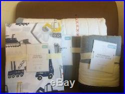 POTTERY BARN KIDS Jax Construction Patchwork TWIN Quilt Sham & Sheets Set NEW