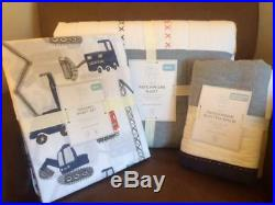POTTERY BARN KIDS Jax Construction TWIN Quilt & Sham & Twin Sheets 5 pc Set NEW
