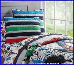 POTTERY BARN KIDS Justice League TWIN Quilt, EURO Sham & Pillowcase Set NEW