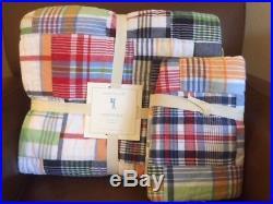 POTTERY BARN KIDS Madras Plaid Twin Quilt & EURO Sham Set NEW