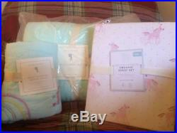 POTTERY BARN KIDS Molly Rainbow TWIN Quilt Sham & Unicorn Sheets 5 pc Set NEW