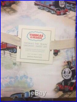 POTTERY BARN KIDS Organic Thomas the Train & Friends TWIN Sheets 3 piece Set NEW