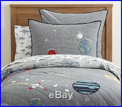 POTTERY BARN KIDS Outer Space TWIN Quilt Sham & TWIN Space Ship Sheets Set NEW