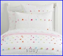 POTTERY BARN KIDS POM-POM TWIN Quilt w Sham & Funny Faces TWIN Sheets Set NEW