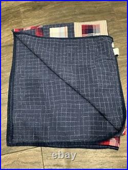 POTTERY BARN KIDS Patchwork Quilt Boys red white Blue TWIN With Blue Sham