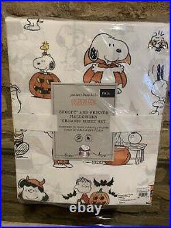 POTTERY BARN KIDS Peanuts Snoopy Halloween Sheet Set Full New Bedding