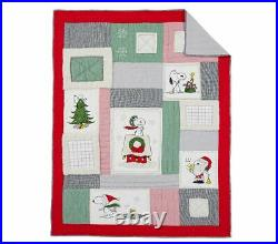 POTTERY BARN KIDS Peanuts Snoopy Holiday TWIN Quilt Sham & Cotton Sheets NEW