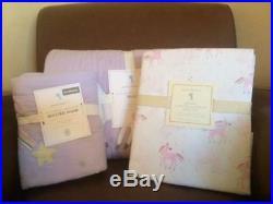 POTTERY BARN KIDS Rainbow Unicorn Twin Quilt Sham & Twin Sheets 5pc Set NEW-PURP