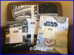 POTTERY BARN KIDS Star Wars DROID Twin Quilt Sheets & STANDARD Sham 5 pc Set NEW