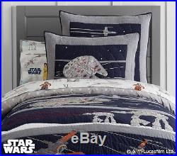 POTTERY BARN KIDS Star Wars LAST JEDI TWIN QUILT Sheets & EURO Sham 5 pc Set NEW