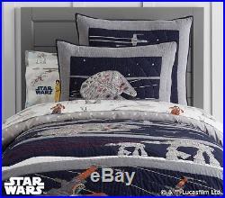 POTTERY BARN KIDS Star Wars LAST JEDI TWIN QUILT Sheets & Sham 5 pc Set NEW