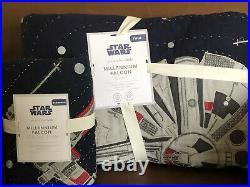 POTTERY BARN KIDS Star Wars Millennium Falcon TWIN Quilt & Sham 2 pc Set NEW