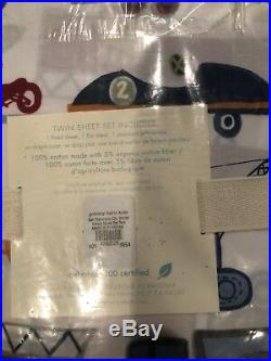 POTTERY BARN KIDS TWIN ORGANIC Patrick SHEET SET &pillowcase cars plane vehicles