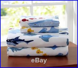 POTTERY BARN KIDS TWIN ORGANIC SHARK SHEET SET with (2) TWO pillowcases NEW