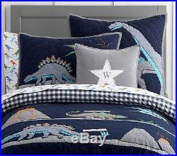 POTTERY BARN KIDS Warren DINO TWIN Quilt, Sheets Set & EURO Sham 5 pc NEW
