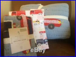 POTTERY BARN KIDS Wyatt Fire Truck Twin Quilt & Sham TWIN Sheets 5 pc Set NEW