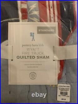 POTTERY BARN KIDS Wyatt Fire Truck Twin Quilt TWIN Sheets Set NO SHAM READ