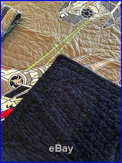 POTTERY BARN Kids STAR WARS X-Wing TIE Fighter Twin Quilt + Sham + Sheets Set