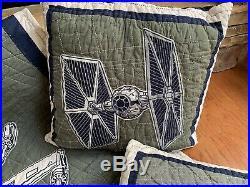 POTTERY BARN Kids STAR WARS X-wing TIE fighter QUILT SHAMS SHEET TWIN