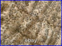 POTTERY BARN TEEN Faux Fur Sleeping Bag -Animal Hood- Brown Leopard- Plush- NWT
