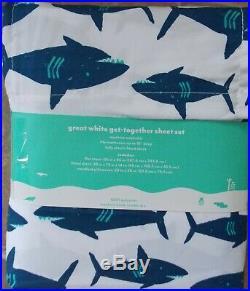 Pillowfort Great White Shark Comforter Sham Sheet Twin Set NEW Blue Red 5 Pc