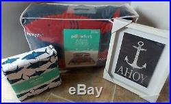 Pillowfort Shark Comforter Shams Sheet Set NEW Full/Queen Blue Red White 8 Pc
