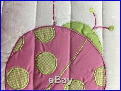 Pink Green Striped Ladybug Girl Bedding Twin Quilt Set Ruffled Cotton Bedspread