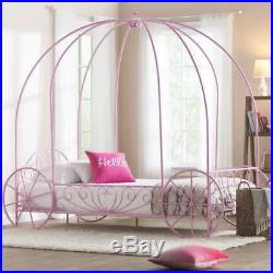 Pink Twin Canopy Wonderland Whimsical Carriage Princess Scrolled Crown Bed New