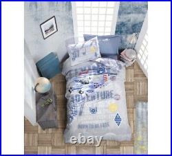 Plane Bedding Set 100% Cotton Duvet Cover Set Twin Size Blue Boys Bed Set