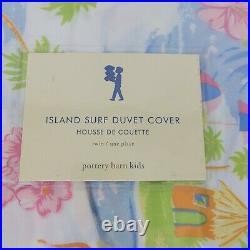 Pottery Barn Island Surf Twin Duvet Cover Hawaiian Tropical New