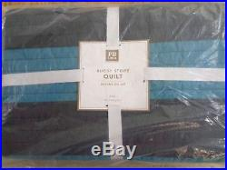Pottery Barn KIDS RUGBY STRIPE QUILT-TWIN-NAVY/TURQUOISE-NEW With TAGS