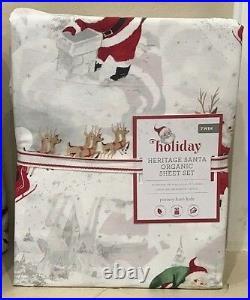 Pottery Barn Kid Heritage ORGANIC Santa TWIN COTTON sheet set Christmas