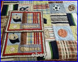 Pottery Barn Kids 86x68 Twin Quilt & 2 Standard Shams Sports Athletic Patchwork