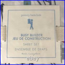 Pottery Barn Kids BUSY BUILDERS 3 pc TWIN Sheet Set Construction Vehicles Cotton