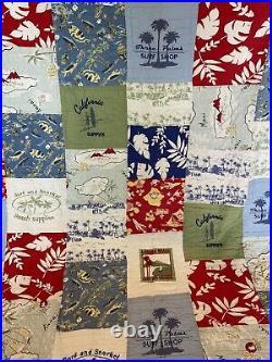 Pottery Barn Kids Blue Island Patchwork Twin Quilt Comforter Hawaiian Surf Vibes