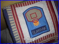 Pottery Barn Kids Blue Junior Varsity Sports Baseball Soccer Twin Quilt 68 X 86