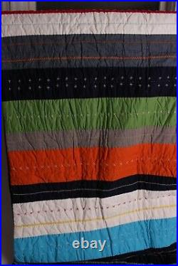 Pottery Barn Kids Boys Bright Stripe twin quilt & 1 euro & 1 stnd sham, navy