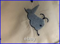 Pottery Barn Kids Boys Sailboat/Whale Twin Quilt And Duvet Cover-embroidered