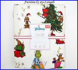 Pottery Barn Kids Christmas Dr. Seuss THE GRINCH AND MAX Flannel Twin Sheet Set
