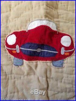 Pottery Barn Kids Clayton's Cars Twin Blue Quilt Blanket 2 Shams Race Cars Autos