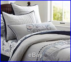 Pottery Barn Kids Connor Construction Embroidered Quilt Twin New Sold Out