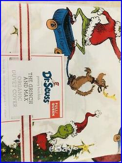 Pottery Barn Kids Cotton Grinch Full Queen Duvet Shams Pillow Christmas Max